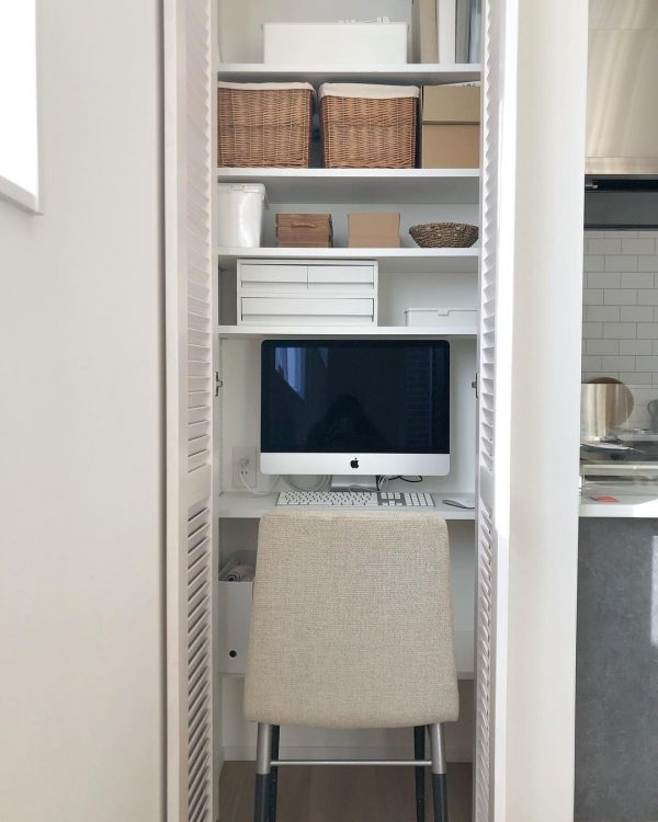 収納庫を活用したパソコンスペース