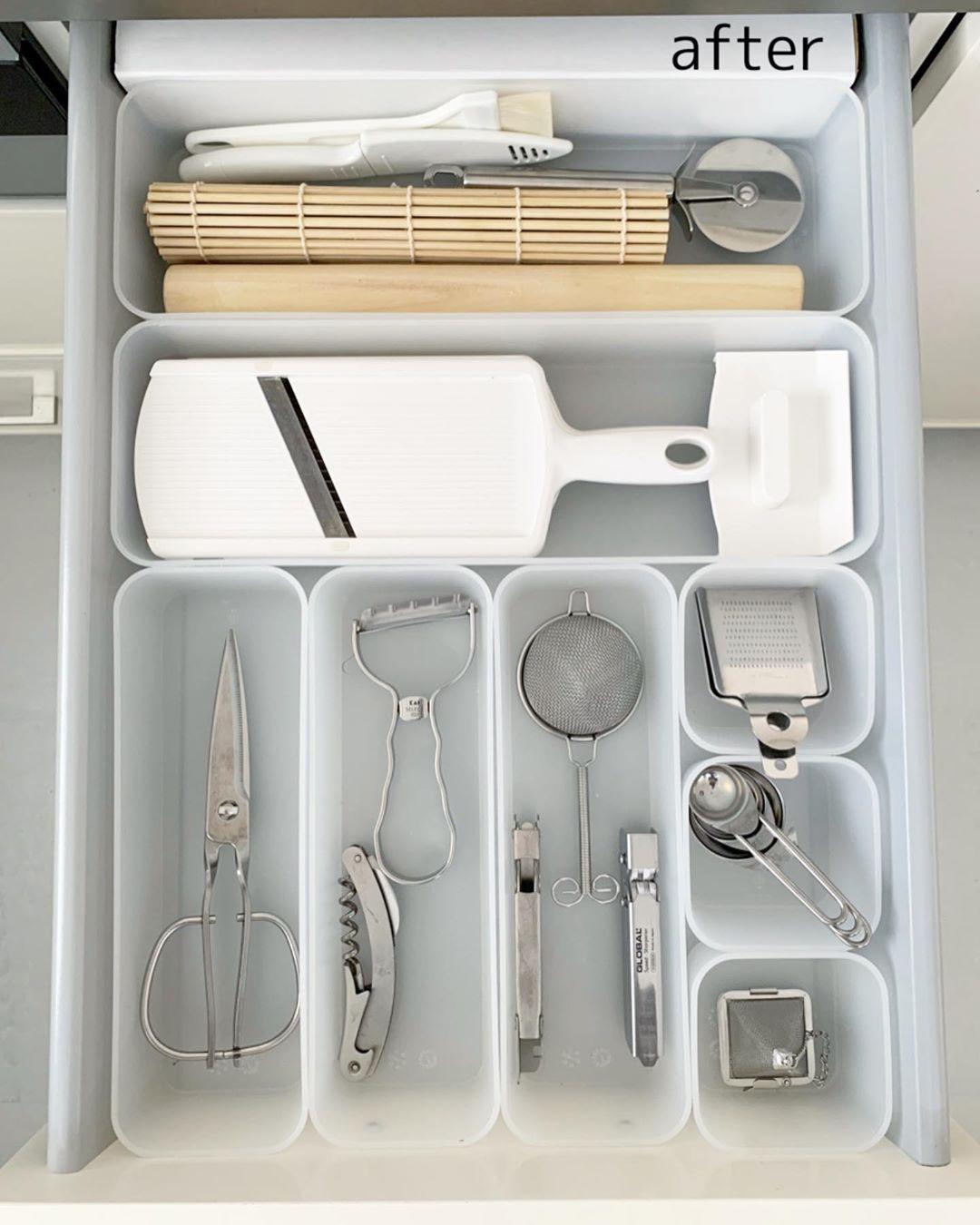 PP整理ボックスでキッチンツールを取り出しやすく