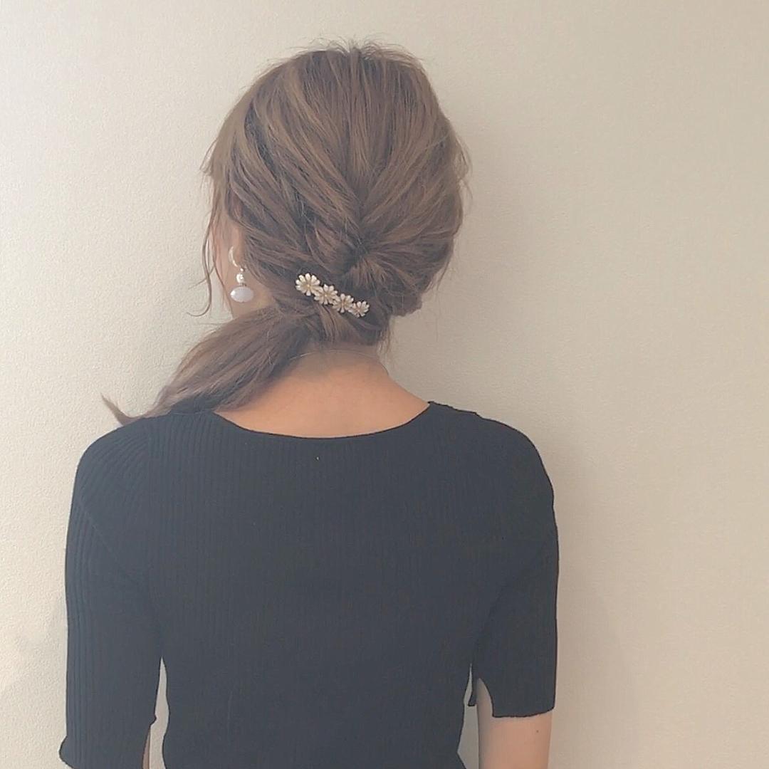 浴衣に似合うミディアムヘアアレンジ1.まとめ髪3