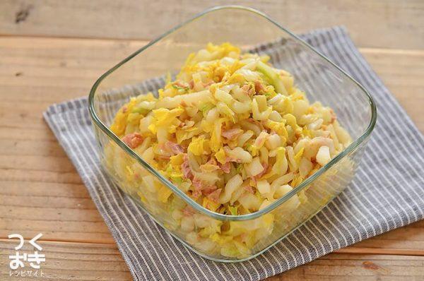 話題のレシピに!ツナと白菜のピリ辛ラー油和え