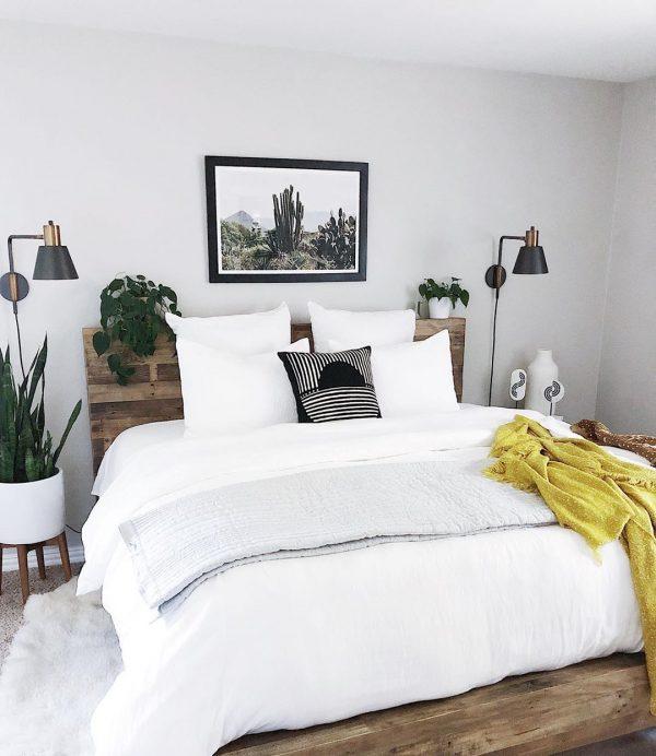 自然を感じられる寝室