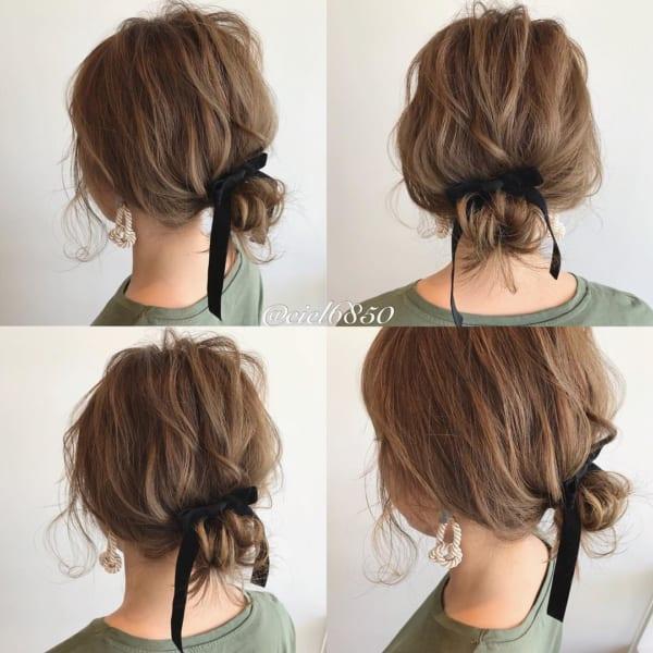 ミニお団子のデート向けボブの髪型
