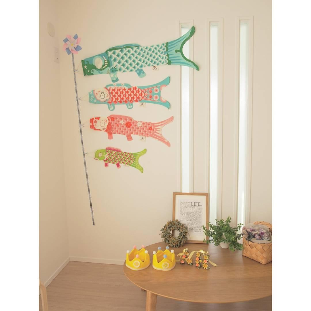 遊び心溢れる鯉のぼりのウォールデコレーション
