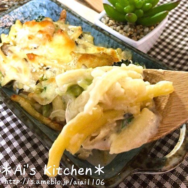 人気のおかず!白菜とエビのマカロニグラタン