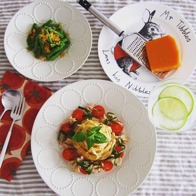 大量消費レシピに!トマトとツナと大葉のパスタ