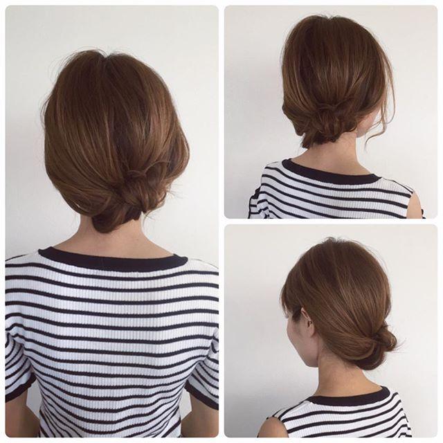 巻かずにできるミディアムのお祭りの髪型