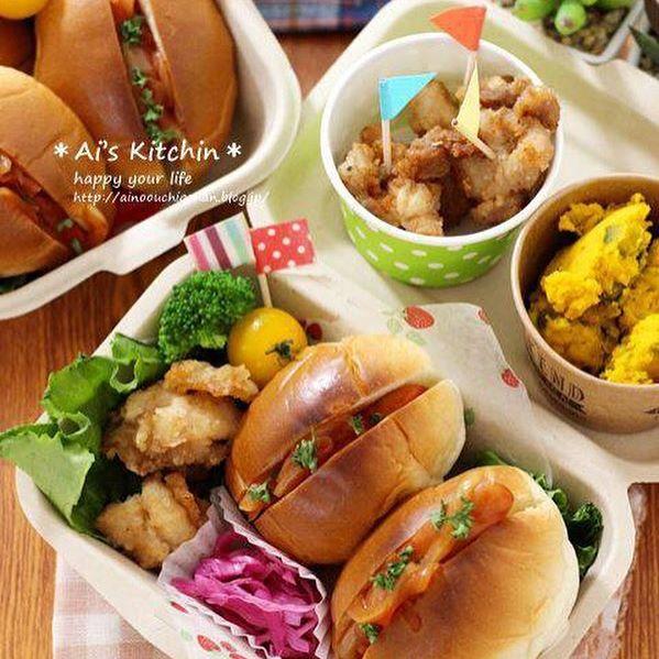 サンドイッチのお弁当☆人気レシピ《ホットドック&バーガー》2