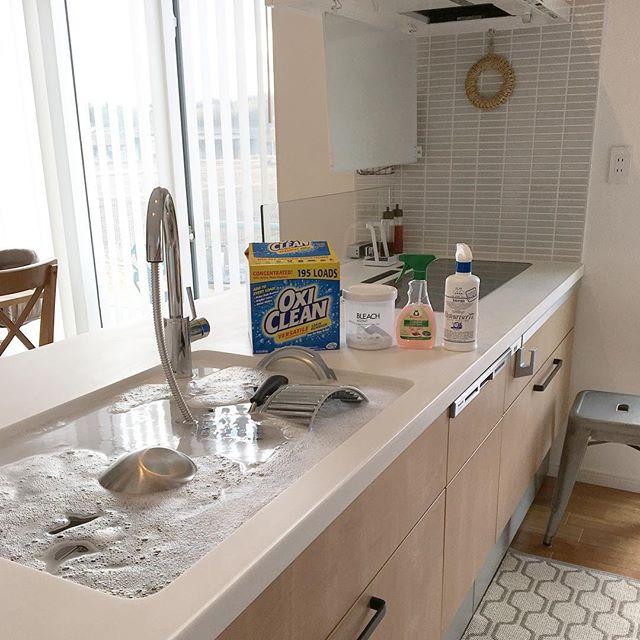 付け置きに必須の洗剤を使ってキッチン掃除