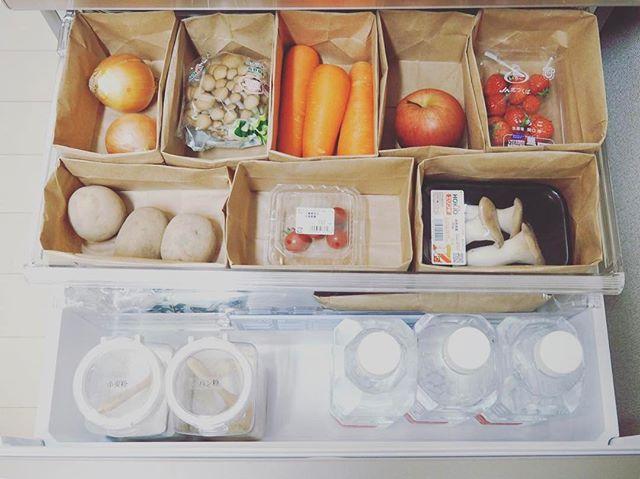 紙袋を使った冷蔵庫整理整頓アイデア