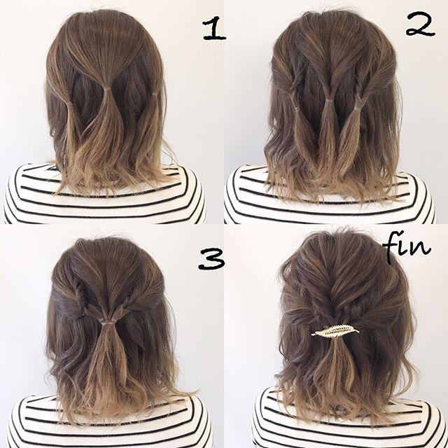 ボブ向けお祭りの髪型《ハーフアップ》4