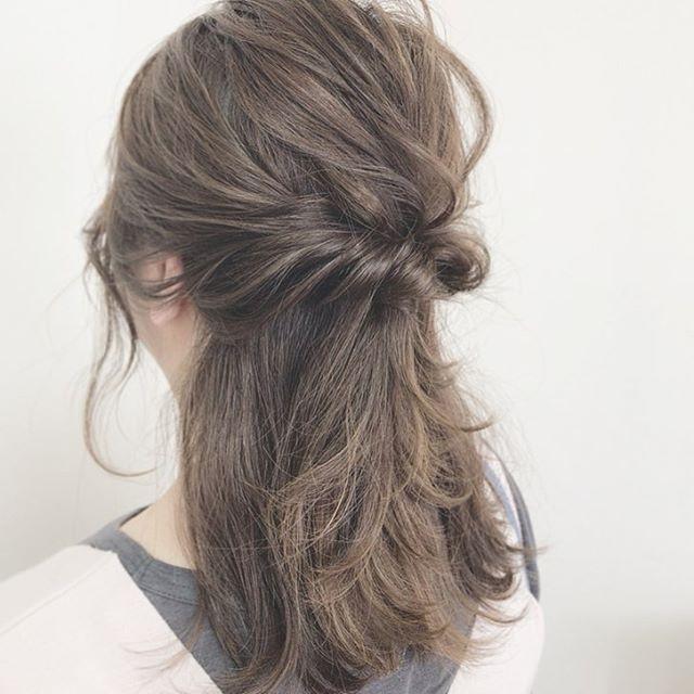 浴衣に似合うミディアムの簡単な髪型《ハーフアップ》2