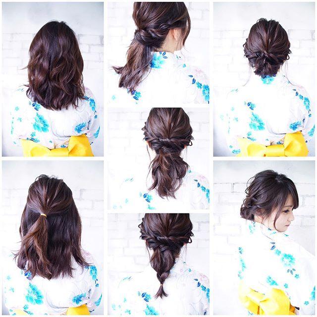 浴衣に似合うミディアムの簡単な髪型《お団子》2