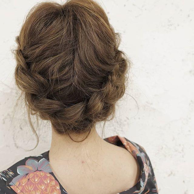 可愛い印象を作るミディアムのお祭りの髪型