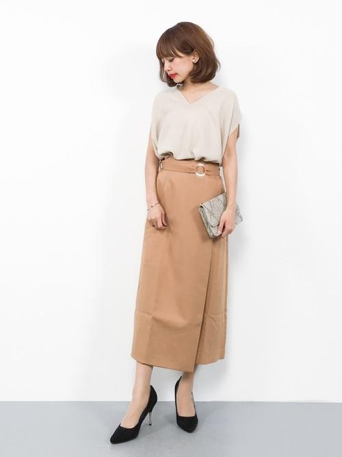 [tocco closet] ラップ風ベルト付きタイトスカート