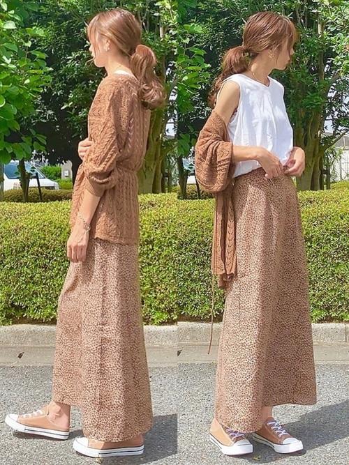 しまむら茶色トップス×茶色スカートの夏コーデ