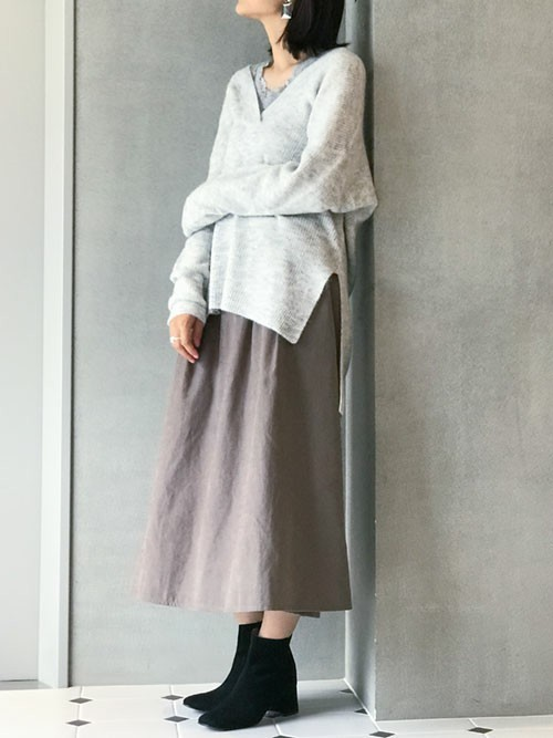 [nano・universe] 【WEB限定】スエードライクサイドタブフレアスカート