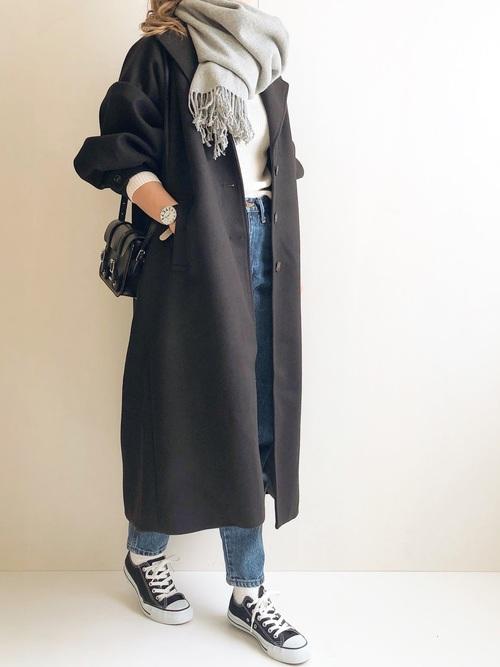 きれいめコートで40代女性の大人ベーシックコーデ