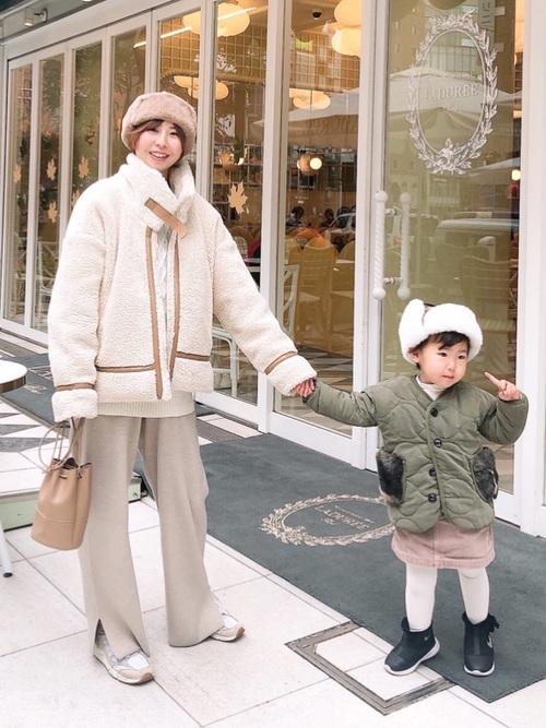 エコファー帽子×ジャケットの冬リンクコーデ