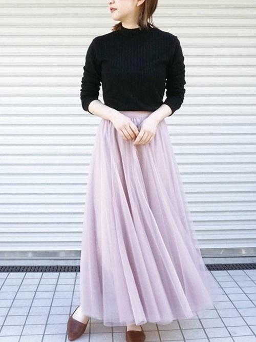 [STYLE AVENUE] チュールロングスカート
