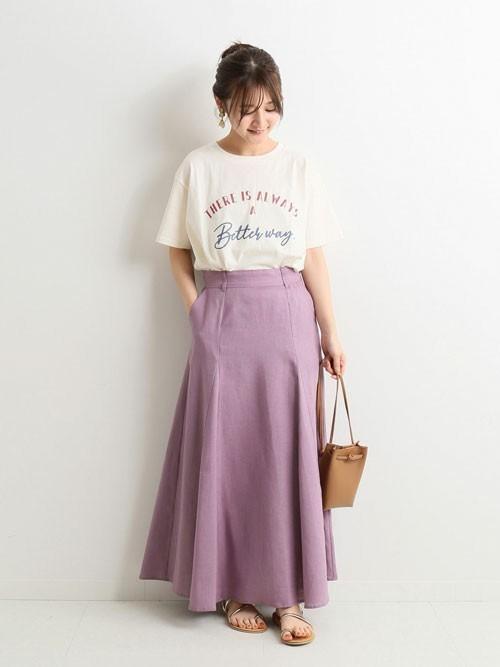 きれい色リネンスカートで華やかに