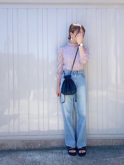 しまむら紫トップス×デニムパンツの夏コーデ