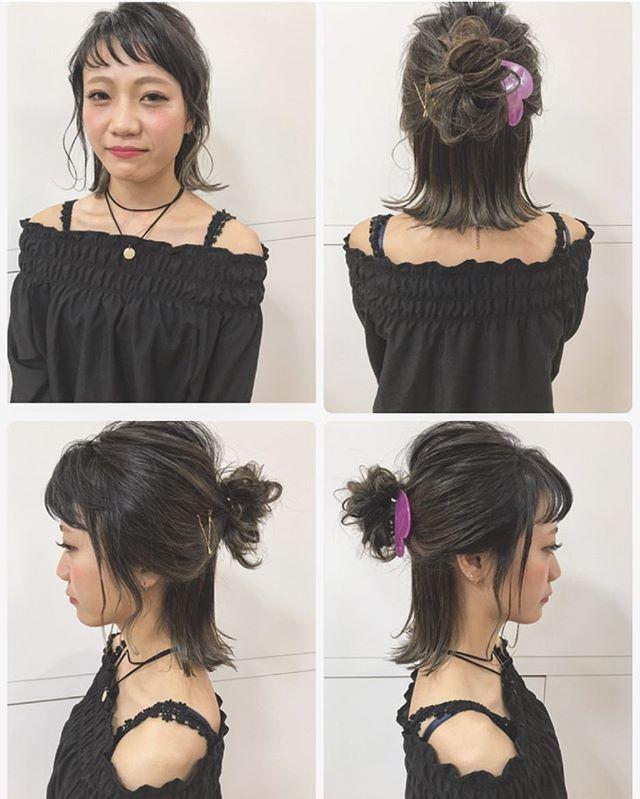 黒髪でも映えるミディアムのお祭りの髪型