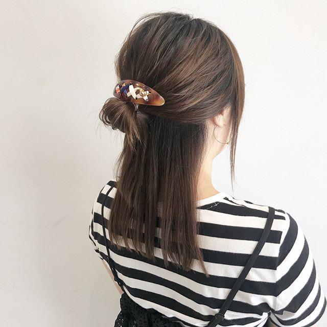 浴衣に似合うミディアムの簡単な髪型《ハーフアップ》3