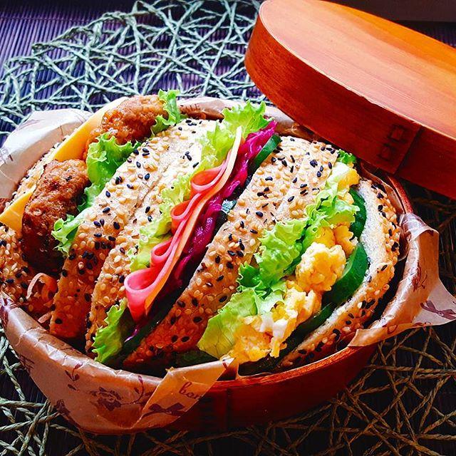 サンドイッチのお弁当☆人気レシピ《バゲット&ベーグル》2