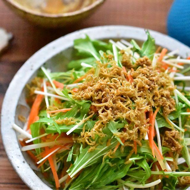 作り置きに人気!水菜としらすのカリカリサラダ