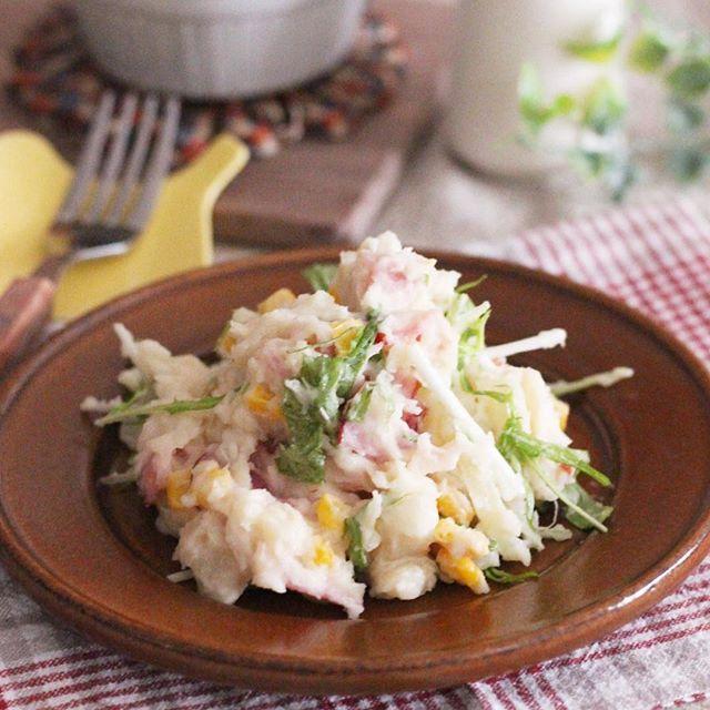 作り置きで常備菜に!水菜入りの簡単ポテサラ