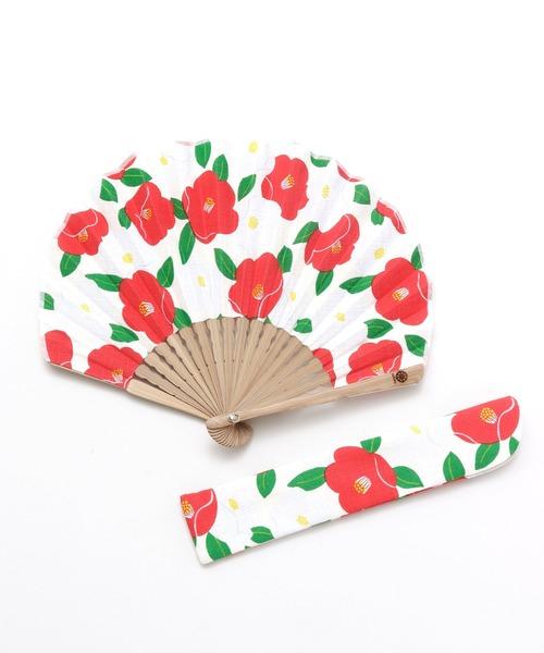 [チャイハネ] 【カヤ】モダン椿扇子 袋付き