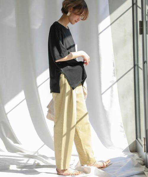 [select MOCA] 【MADE IN JAPAN】サイドスリットオーバーサイズロールアップスリーブ半そでTシャツ