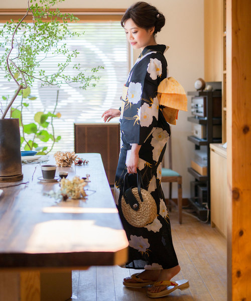 [KIMONOMACHI] レディース浴衣セット 変わり織り綿浴衣+浴衣帯の2点セット LADY STYLE