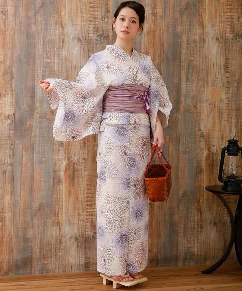 [utatane] 浴衣3点セット 先染め風ベージュに涼しげ糸菊