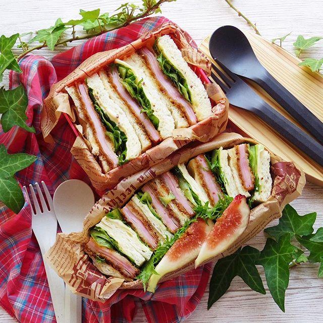 サンドイッチのお弁当☆人気レシピ《ボリュームサンド》