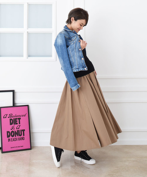 [CHOCOA] 産前産後ロングフレア マタニティスカート