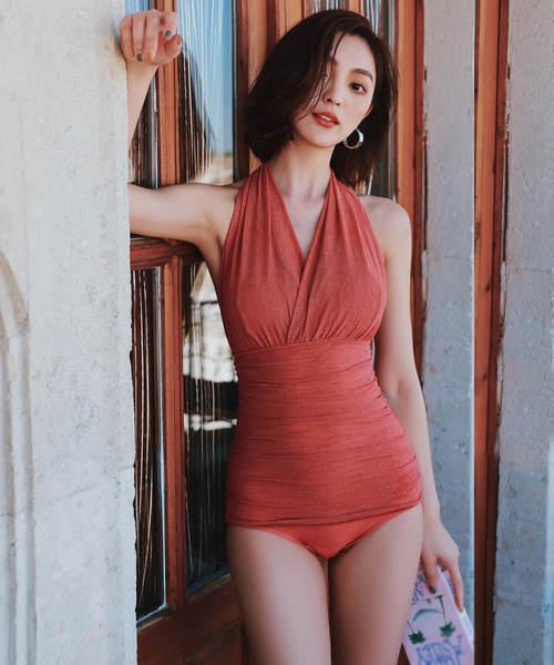 [Angel Luna] 【2色】綺麗にセクシー!シフォン素材のドレス風ワンピース水着+インナーショーツ