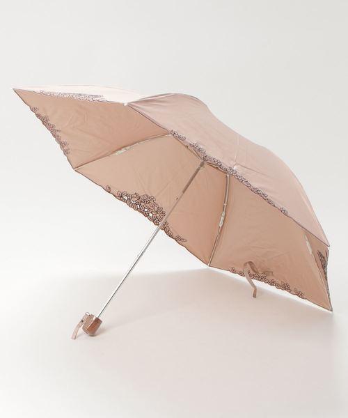 [UNBILLION] ウィズ wiz / 【晴雨兼用】【日傘】フラワーリーフオーガンジー刺繍 折りたたみ傘 ショートパラソル