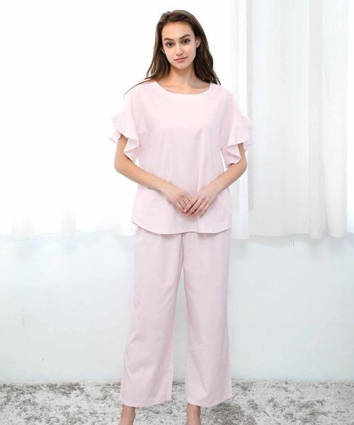 [blooming FLORA] ブルーミングフローラ さらさら優しい着心地 フレア半袖+ワイドパンツ ルームウェア パジャマ 綿レーヨン bloomingFLORA