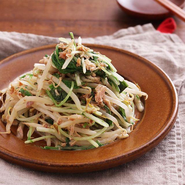 作り置きで常備菜!もやしと水菜の梅おかかサラダ