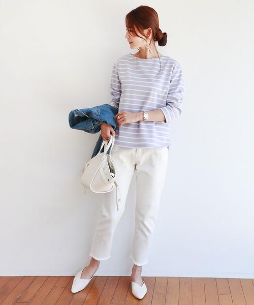 [and Me(アンドミー)] ポンチ長袖ボートネックTシャツ カットソー トップス