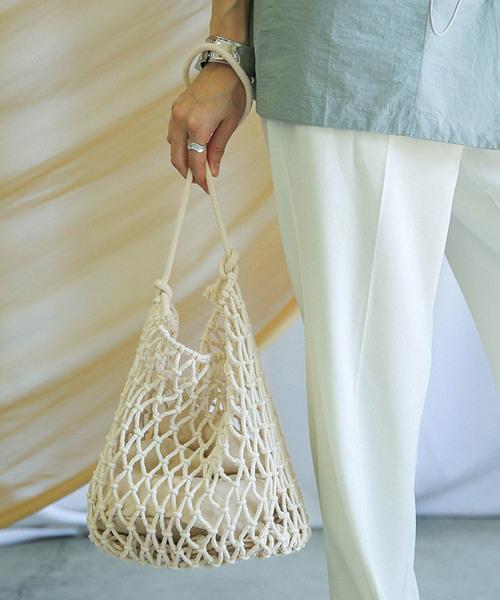 [select MOCA] ネットトートバッグ/巾着付きコットン100%底フェイクレザーざっくり編みショルダーバッグ