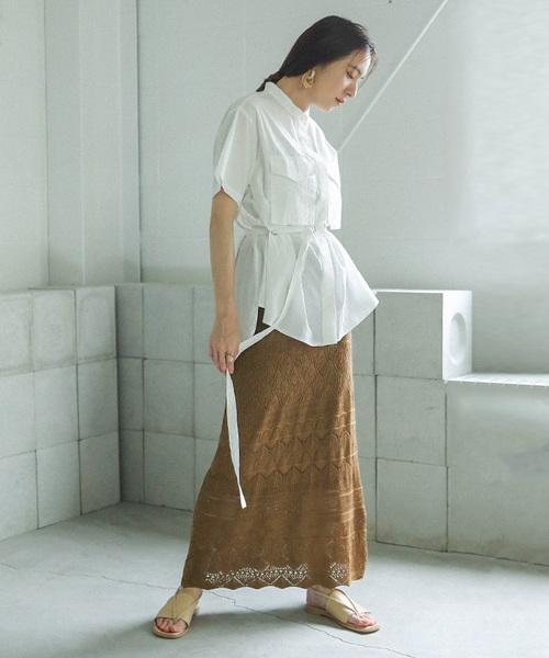 [select MOCA] かぎあみスカート/コットンレースリゾートデザイン透かし編みクロッシェロングスカート
