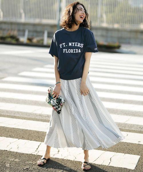 [Ranan] ランダムドットプリントスカート
