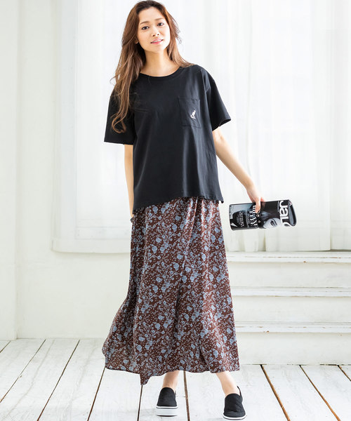 [Ranan] 花柄ロングスカート