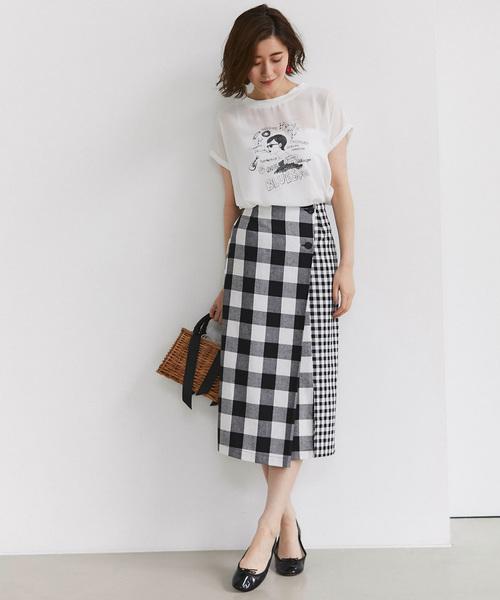 [tocco closet] リネン混ブロックチェックラップタイトスカート