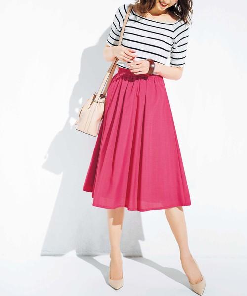 [GeeRA] 麻調合繊鮮やかフレアースカート