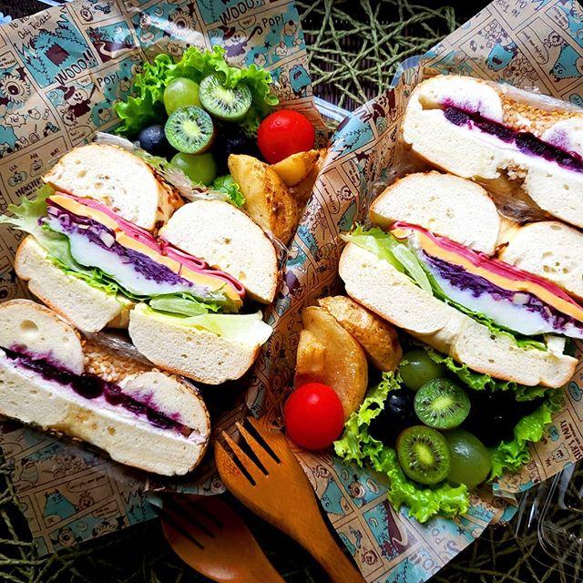 サンドイッチのお弁当☆人気レシピ《バゲット&ベーグル》4
