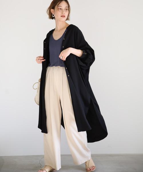 [select MOCA] スタンドカラーロングシャツガウン/とろみ素材バックタックデザインディープスリーブロング丈長袖シャツ