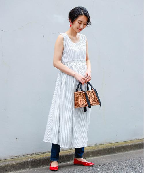 [tocco closet] ストライプ刺繍ウエストドロストワンピース